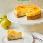 Caramelized Pears, Lemony-Almond Ricotta Cheesecake, topped with Crme Brle